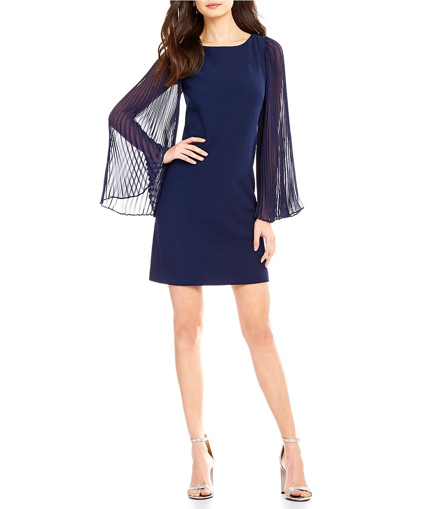 Vince Camuto Crepe Chiffon Pleated Long Sleeve Shift Dress