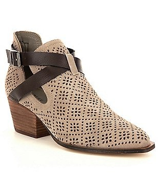 Chinese Laundry Sydney Perforated Suede V-Throat Block Heel Booties