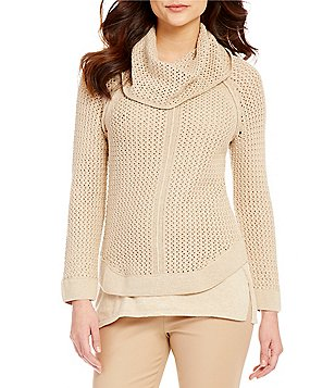 Sigrid Olsen Cowlneck Cotton Blend Sweater
