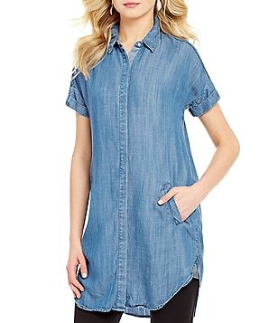 CATHERINE Catherine Malandrino Chambray Button Front Tunic