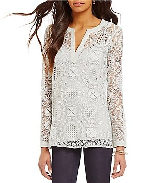 Sigrid Olsen Split V-Neck Long Sleeve Lace Knit Tunic