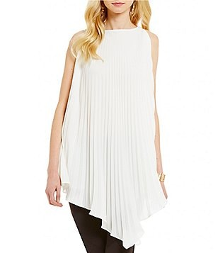 CATHERINE Catherine Malandrino Hazel Pleated Asymmetrical Sleeveless Tunic