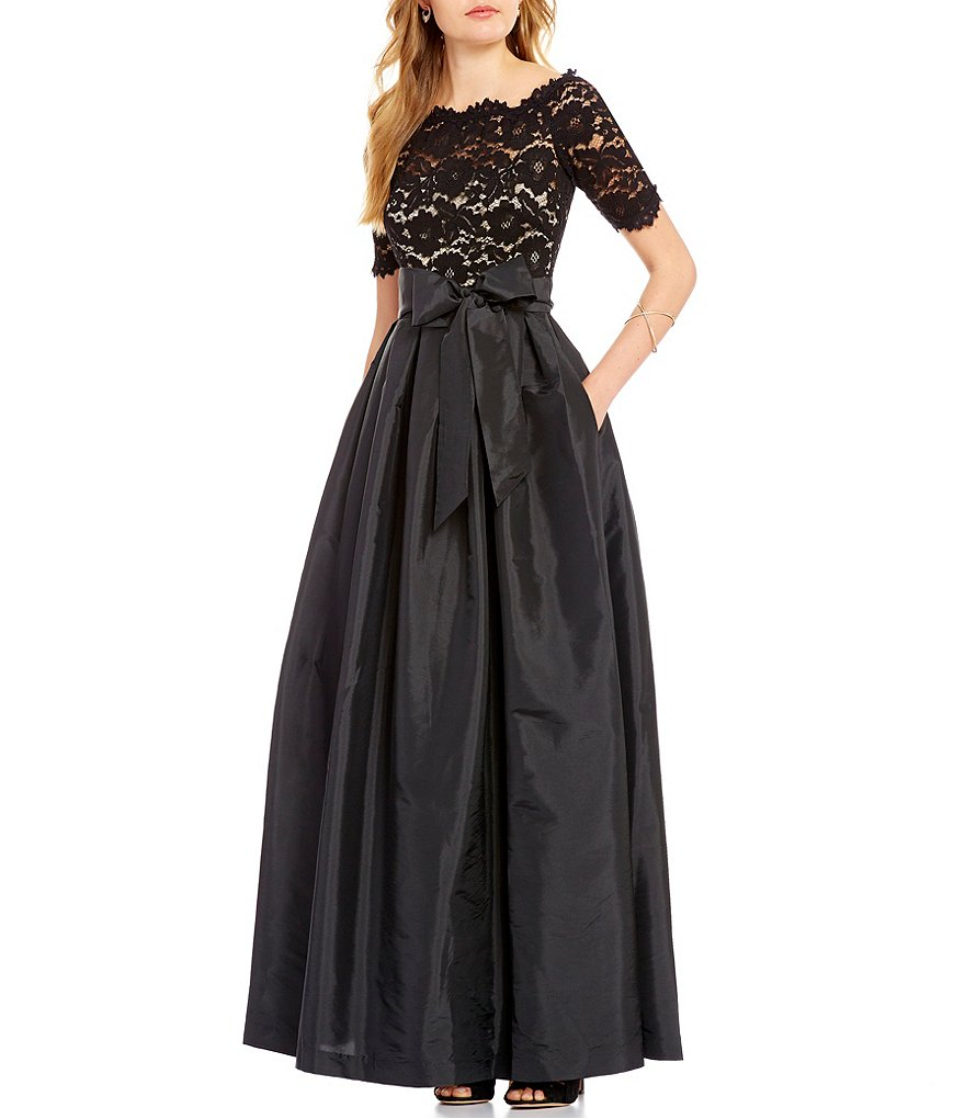 Vince Camuto Lace/Taffeta Off-The-Shoulder 3/4 Sleeve Gown