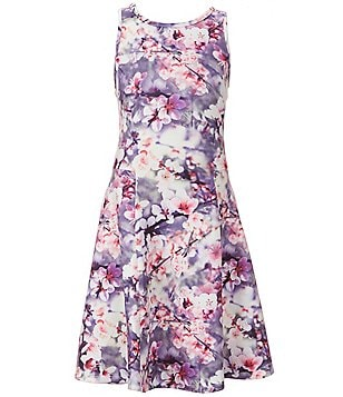 Penelope Tree Big Girls 8-14 Jessica Floral Scuba Cut-Out Skater Dress