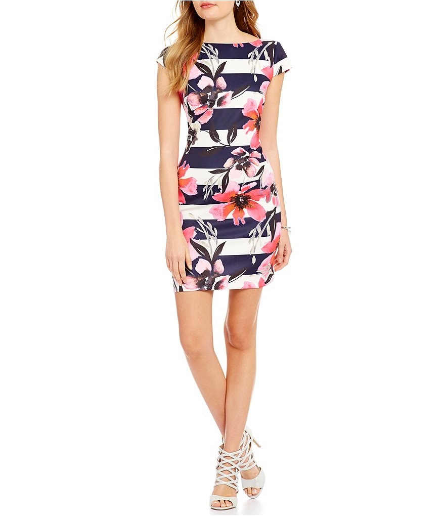 Vince Camuto Cap Sleeve Stripe Floral Dress