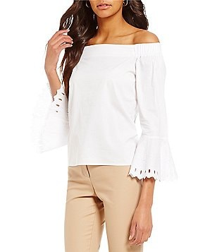 Sigrid Olsen Off The Shoulder Long Bell Sleeve Blouse