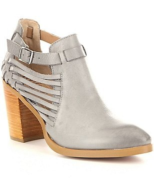 Latigo Jasmine Leather Side Strap Block Heel Booties