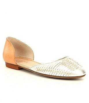 Latigo Mateo d´Orsay Woven Metallic Leather Slip-On Almond Toe Flats