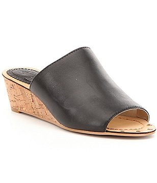 Latigo Suzi Leather Banded Slip On Cork Wedge Sandals
