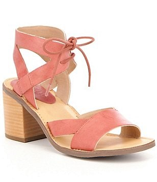 Latigo Vela Leather Banded Ankle Tie Block Heel Sandals