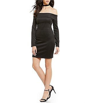 Sugarlips Off-The-Shoulder Long Sleeve Solid Bodycon Dress