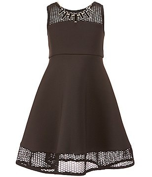 Bonnie Jean Big Girls 7-16 Scuba Illusion-Neck Dress