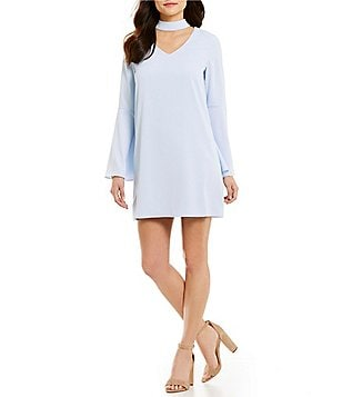 Sugarlips Mock Neck V-Keyhole Long Bell Sleeve Sheath Dress