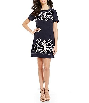 Sugarlips Crew Neck Short Sleeve Embroidered A-Line Dress