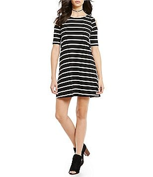 Sugarlips Scoop Neck Short Sleeve Cold-Shoulder Striped A-Line Dress