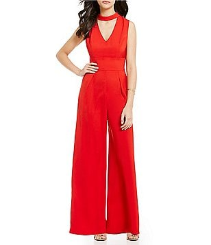 Sugarlips Sleeveless Choker Neck Plunging Solid Jumpsuit