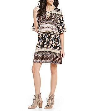Sugarlips Bell Sleeve Lace-Up Printed Sheath Dress