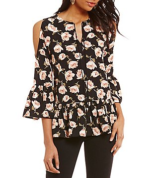Sugarlips Split V-Neck 3/4 Sleeve Cold-Shoulder Floral Peplum Blouse