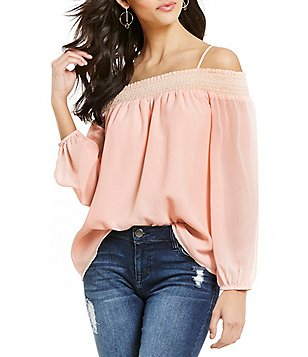 Sugarlips Off-the-Shoulder Smocked Long Sleeve Top