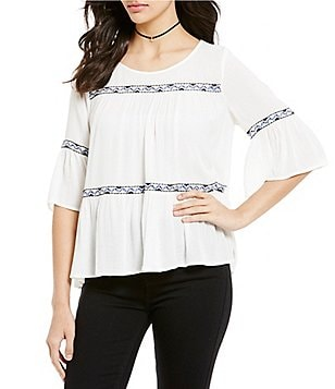 Sugarlips Short Bell Sleeve Embroidered Gauze Top