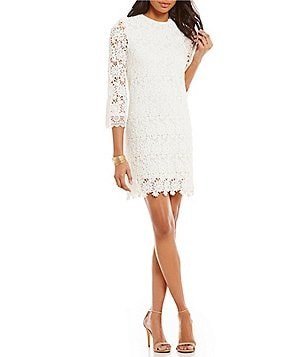 Sugarlips Mock Neck Long Sleeve Scalloped Lace Dress