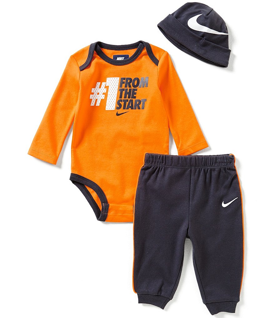 Nike Baby Boys Newborn-12 Months #1 From the Start Long-Sleeve Bodysuit, Pants & Hat Set