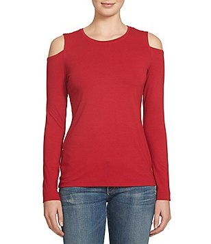 1. STATE Long Sleeve Cold Shoulder Knit Top