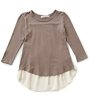 Moa Moa Big Girls 7-16 Pleated Colorblock Top