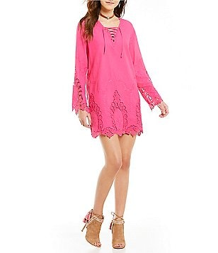 Buffalo David Bitton Allen Embroidered Lace-up Dress