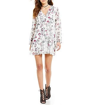 Buffalo Addison Printed Bell Sleeve Self-Tie Dress