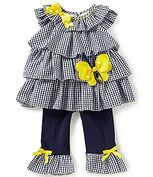 Rare Editions Baby Girls 3-24 Months Checked Seersucker Ruffle Tiered Tunic & Leggings Set