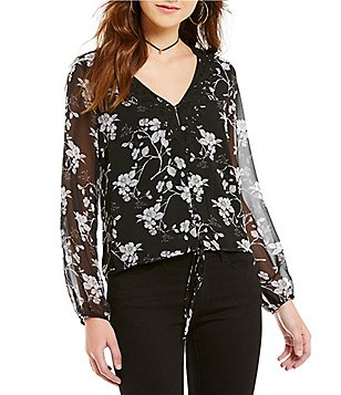 Buffalo Tie Front Long Sleeve Floral Lace Crop Top