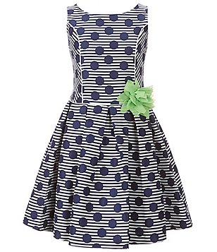 Bonnie Jean Big Girls 7-16 Dotted Floral-Applique Dress