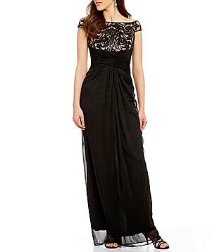 Adrianna Papell Off-The-Shoulder Cap Sleeve Sequin Bodice Draped Gown