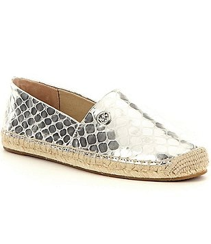 MICHAEL Michael Kors Kendrick Metallic Snake Leather Slip-On Espadrilles