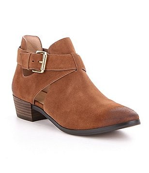 MICHAEL Michael Kors Mercer Suede Cutout Strap & Buckle Booties