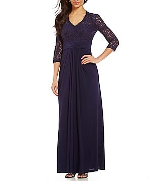Cachet Deep V-Neck 3/4 Sleeve Lace Bodice Gown