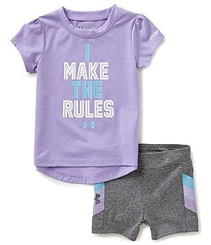 Under Armour Baby Girls 12-24 Months I Make The Rules Tee & Shorts Set