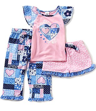 Sweet Heart Rose Little/Big Girls 4-12 3-Piece Heart-Print Top, Shorts, & Pants Pajama Set