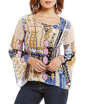 Democracy Long Bell Sleeve Lace-Up Neck East West Hem Printed Top