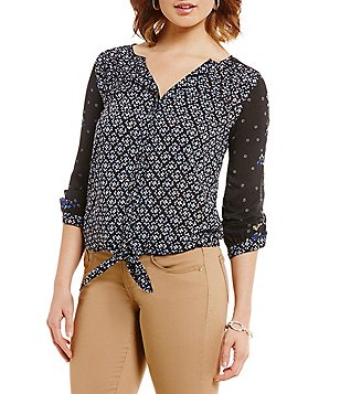 Democracy 3/4 Roll-Tab Sleeve Tie-Front Print Blouse