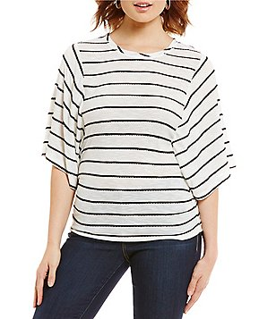 Democracy Dolman Sleeve Elastic Casing Side Ruched Stripe Top