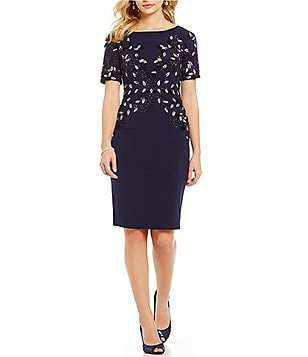 Adrianna Papell Jersey Round Neck Beaded Shift Dress