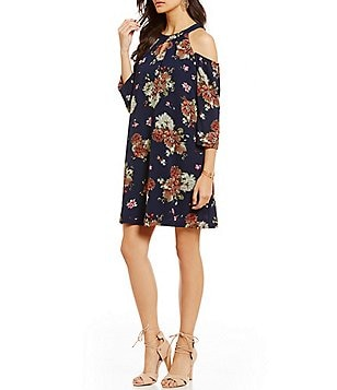 As U Wish Cold Shoulder Keyhole Floral Shift Dress