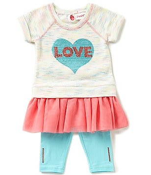 Flapdoodles Little Girls 2T-6X Love Ruffled Sequin Dress and Solid Leggings Set