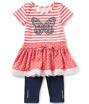 Flapdoodles Little Girls 2T-6X Butterfly Striped To Polka-Dot Dress & Solid Leggings Set