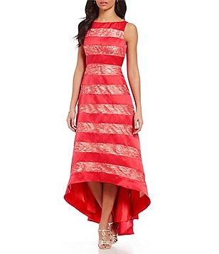 Adrianna Papell Striped Lace Fit & Flare High-Low Ballgown