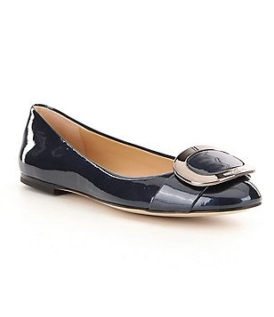 MICHAEL Michael Kors Pauline Pearlized Patent Leather Buckle Detail Ballet Flats
