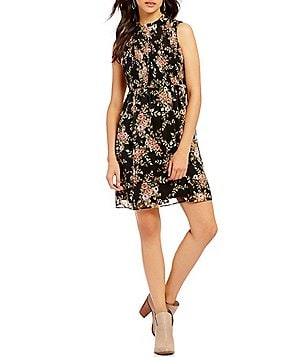 As U Wish Floral Print Smocked Bodice Mock Neck A-Line Dress
