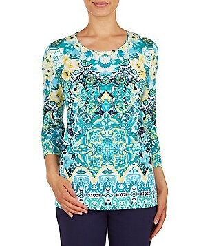 Allison Daley Petites Scroll Print 3/4 Sleeve Embellished Knit Top